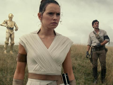 "Daisy Ridley and Oscar Isaac in ""Star Wars: The Rise of Skywalker."""