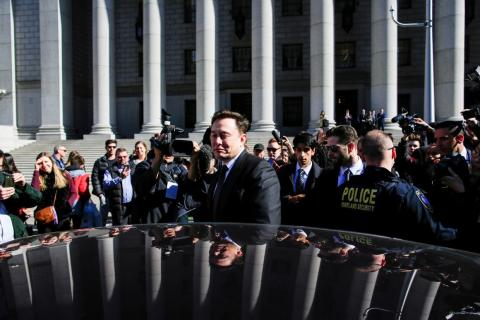 Tesla CEO Musk exits after attending a S.E.C. hearing at the Manhattan Federal Courthouse in New York
