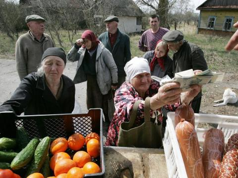 In the village of Tulgovich, where Ivan Semenyuk told Reuters he lived, a mobile shop stops by once or twice a week selling residents foodstuffs.