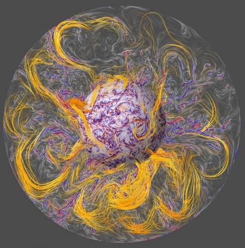 A visualization of the interior of the Earth's core, as represented by a computer simulation model.