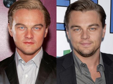 """A la izquierda está la figura de cera de DiCaprio. A la derecha está DiCaprio en el estreno de """"La hora 11"""" en agosto de 2007."""