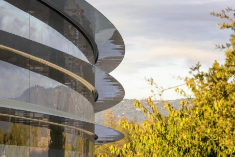 The way the glass canopies at Apple Park are slightly curved to deflect rain:
