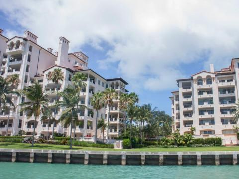 As we arrived at Fisher Island, I got my first look at the island's Mediterranean-style residential buildings.