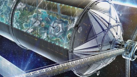 El concepto artístico de una colonia espacial O'Neill de Blue Origin.