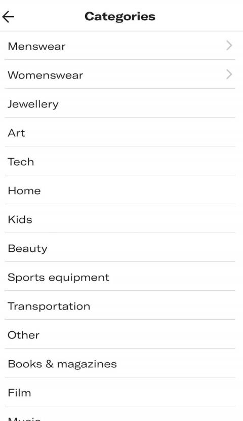 You're asked to select the category that the item falls under. These are umbrella categories, such as menswear, womenswear, or sports equipment, for example. You can add a more detailed description of the item in another box,