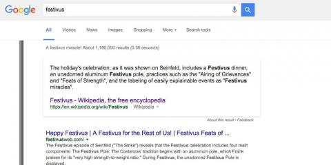 "10. This one is for ""Seinfeld"" fans: When you type in ""Festivus,"" you'll see a pole pop up on the left side of the screen."