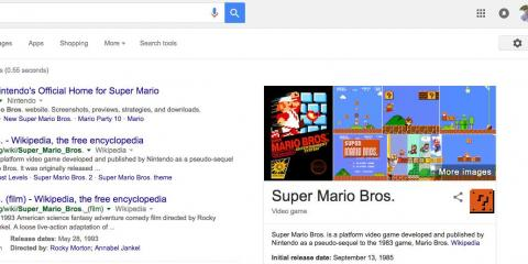 "15. There are clearly a few gamers on Google's Search team. Search ""Super Mario Bros,"" for instance, and one of the ""?"" blocks from that series will show up in the Knowledge Graph card on the right. Click it, and you'll be treated"