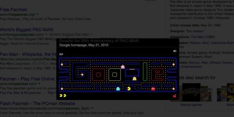 "19. Googling ""Pacman"" will allow you to play the interactive game Google created for a Doodle celebrating the little yellow guy's 30th anniversary back in 2010."