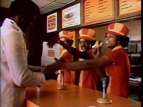 1974 — Burger King ran an ad spot in 1974, which appeared to feature two different versions geared toward its white and black customers, respectively. For white audiences, 'Hold the pickle, hold the lettuce' was sung by a green