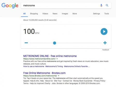"23. Google added a tool for musicians, too. Just type in ""metronome,"" then adjust the BPM for your piece of music."