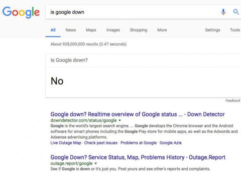 "24. If you search ""Is Google down"" you'll get a concise ""no."""