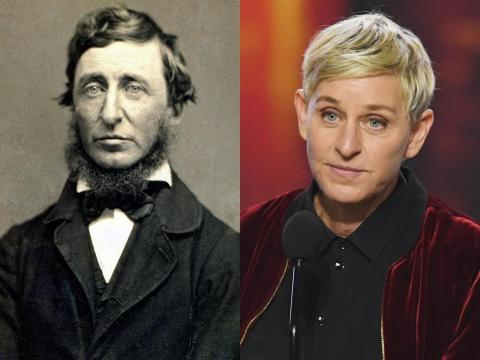 El movimiento abolicionista tuvo figuras muy parecidas a las celebrities actuales. Ellen DeGeneres se parece a Henry David Thoreau.