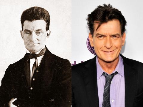 Otra figura famosa de la era de la Guerra Civil americana, John Brown, se parece a Charlie Sheen.