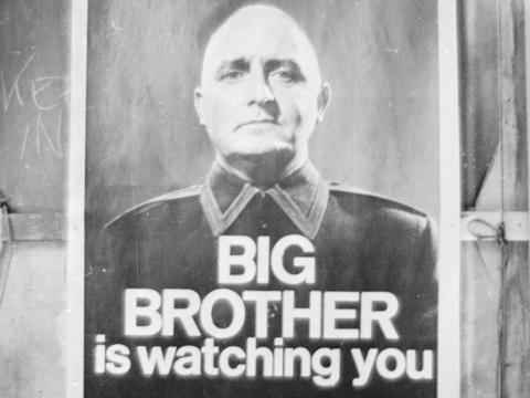 A poster with the famous words 'Big Brother is watching you' from a BBC production of George Orwell's classic novel '1984' in 1965.
