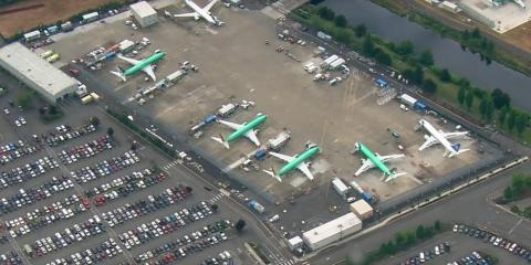 Boeing is crowding its employee parking lot with undelivered 737 Max jets, and the company says that's part of its 'inventory-management plan'