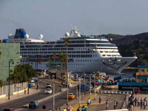 Carnival's Adonia cruise ship arrives from Miami in Havana in 2016.