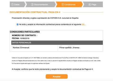 Confirmación Financiación Amazon