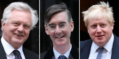 Conservative Brexiteers David Davis, Jacob Rees-Mogg and Boris Johnson
