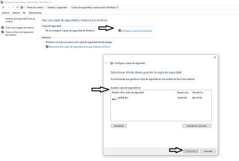 Copias de seguridad y restauración Windows 10