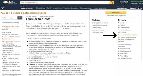 Cancelar cuenta Amazon Prime