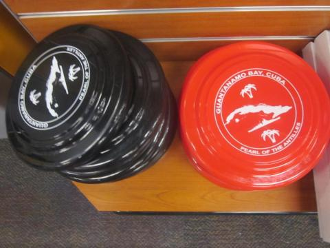 Elsewhere in the shop, you can also find branded Frisbee-style discs ...