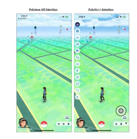 This excerpt from the lawsuit shows the regular Pokémon Go app, as compared with PokeGo++, which allegedly helps players cheat by giving them an array of unfair advantages.