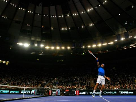 Federer brought his theatrics to the 2012 BNP Paribas Showdown at Madison Square Garden in 2012.