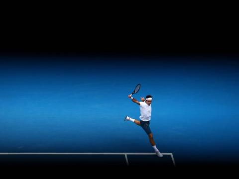 Federer's back-hand somehow looks smoother on the blue court at the Australian Open.