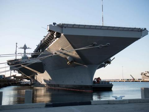 The USS Gerald Ford aircraft carrier.