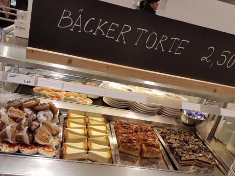 An IKEA in Germany offers a vast selection of desserts, including pastries, muffins, and different cakes.