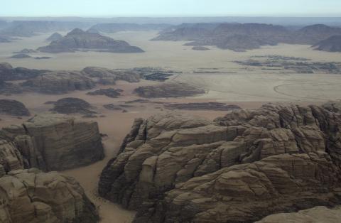Una imagen aérea del desierto de Wadi Rum, en Jordania.