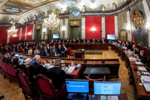 Una imagen de la Sala del Supremo que dirime el juicio de procés