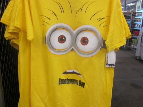 "Less serious T-shirt options are also available. Here's a shirt depicting a shocked-looking minion — from the ""Despicable Me"" movie franchise — with the words ""Guantanamo Bay"" on its chin."