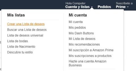 Lista de deseos en Amazon