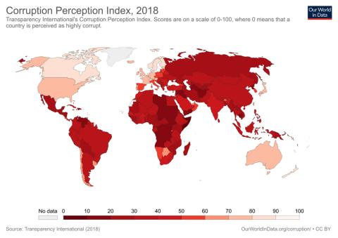 mapa corrupción en el mundo