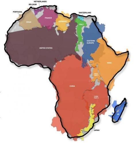 mapa que muestra cómo de grande es África