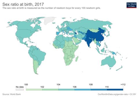 mapa de número de mujeres en el mundo