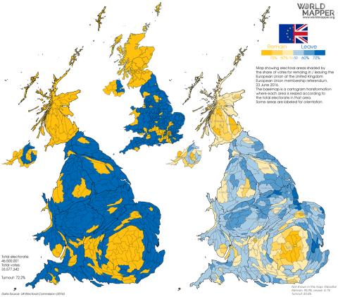 mapa según voto Brexit