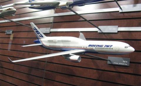 Maqueta del B767X en las oficinas de Boeing.