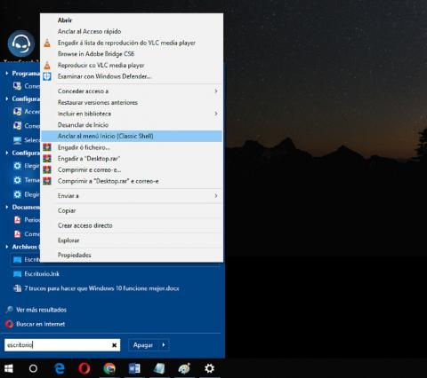 Menú Inicio Windows 10