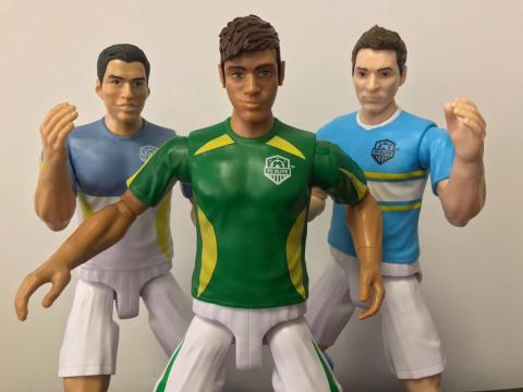 Muñecos de Luis Suárez, Neymar y Messi en la colección FC Elite de Mattel