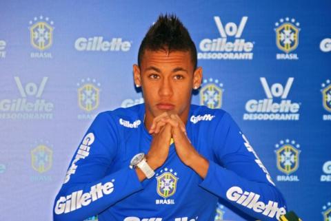 Neymar, en una rueda de prensa de la selección brasileña