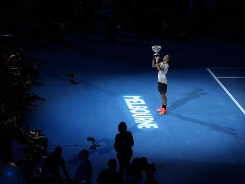 One of Federer's many trophy ceremonies.