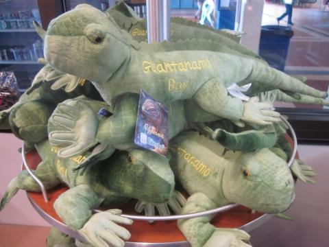 "... or this branded, stuffed lizard-like creature. ""The image the items in the gift shop presents is that Guantanamo is a 'fun in the sun, place full of exotic animals and beaches,"" Mirk said."