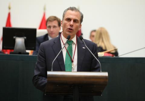 Ortega Smith (Vox), en el Ayuntamiento de Madrid.