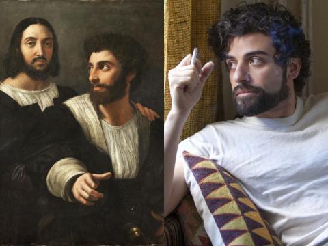 Oscar IsaOscar Isaac se parece sospechosamente a uno de los amigos pintados por Rafael Sanzio