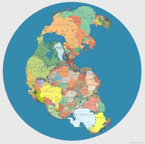 Países actuales en la antigua Pangea