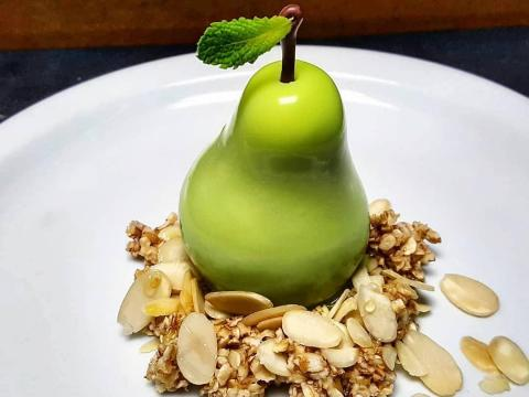 This pear dessert is just like the fruit — with a bit more sugar.