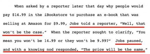 En el lanzamiento del iPad, que incluía el nuevo iBookStore, Steve Jobs admitió a un periodista que sabía de antemano que la competencia de precios entre los libros electrónicos estaba llegando a su fin, según esta sentencia.
