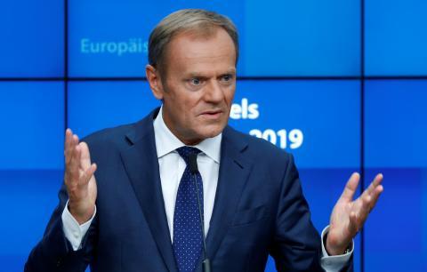 El presidente del Consejo Europeo, Donald Tusk, en rueda de prensa.